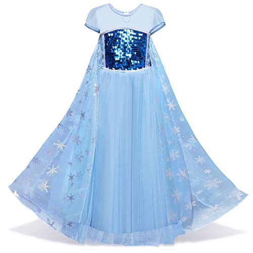 HNXDYY Elsa Costumes Snow Queen Princess Dress up for Little Girls Fancy Party Size 110,3-4 Years,Blue -