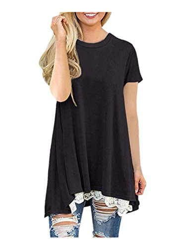 Clearance!! Women Shirt Dress Short Sleeve,Lelili Fashion Lace Patchwork Crewneck Pleat Swing Blouse Tops Sweatshirt (XL, Black)