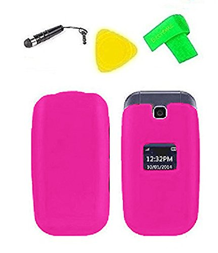 Hard Protector Phone Cover Case Cell Phone Accessory + Extreme Band + Stylus Pen + Yellow Pry Tool for LG True B460 / MS450 / B450 / 450 ()