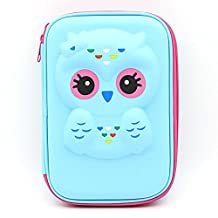 JUJIN Super Cute Owl Hardtop EVA Pencil Case Big Pencil Box With Compartment For Kids (Light Blue)