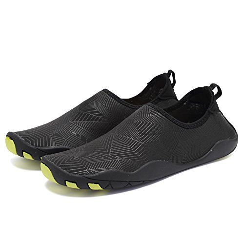 CIOR Men and Women's Barefoot Quick-Dry Water Sports Aqua Shoes with 14 Drainage Holes for Swim, Walking, Yoga, Lake, Beach, Garden, Park, Driving, Boating,SYY04,z.black,45 2