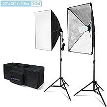Julius Studio 20 x 28 Inch Soft Box with Bulb Socket Lighting Kit, 800W Output Softbox Light for Video Camera Photography, Photo Portrait Studio, Photo Lighting Diffuser, JSAG344V2