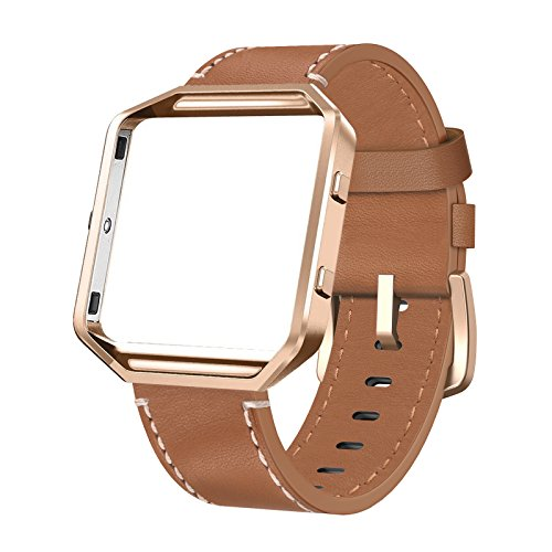 Medium Leather Watch Strap - SWEES Leather Bands Compatible Fitbit Blaze Smart Watch, Genuine Leather Replacement Band Metal Frame Small & Large Women Men, Champagne Gold, Rose Gold, Black, Brown, White, Grey, Turquoise