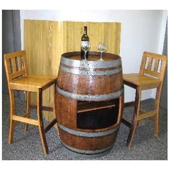 Amazoncom Mgp Oak Wine Barrel Bar Table Base With Shelf Opening