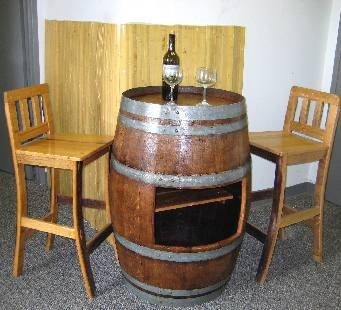 Oak Wood Wine Barrel Bar Table Base with Shelf Opening to Use with Sht-48, 26″d X 35″h For Sale