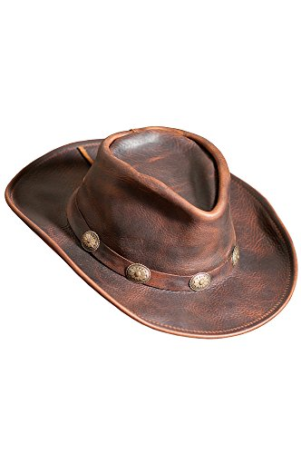 Overland Sheepskin Co Raging Bull Leather Cowboy Hat by Overland Sheepskin Co