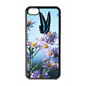 iPhone 5C Phone Case The butterfly flowers beautiful Protective Cell Phone Cases Cover TTR142458