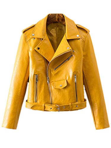 - Women's Trendy Stand Collar PU Leather Moto Jacket Leather Coat