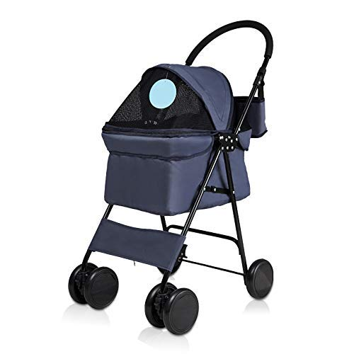bluee Jogger Pet Stroller for Cats Dogs,Foldable Carrier Strolling Cart Light Easy to Carry Safe Suspension Ceiling can be redated Suitable for Small pet,bluee