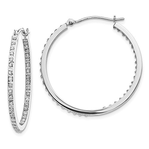 (Solid 14k White Gold Diamond Fascination Round Hinged Hoop Earrings (2mm x 30mm))