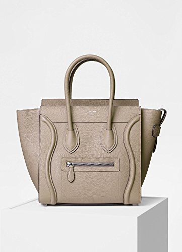 CELINE Leather Nano Luggage Shoulder Handbag (beige)