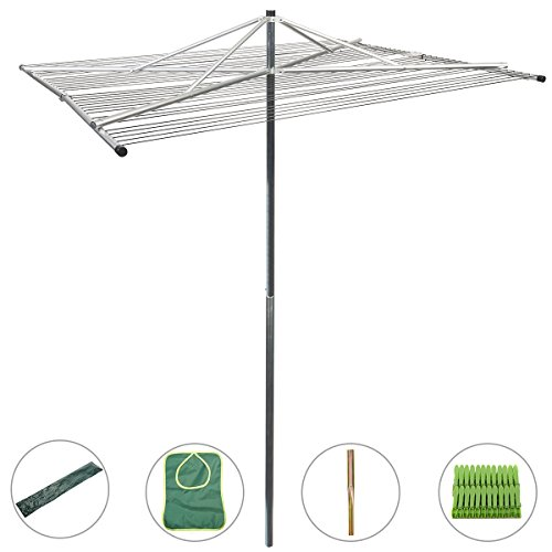 Drynatural Outdoor Umbrella Clothesline Large Collapsible 4-arm Parallel Clothes Drying Rack Clothes Hanger for Laundry by Drynatural