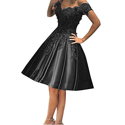 Beads Shoulder Black Women's Off Satin Dress Lace Homecoming DMDRS Flower Prom xR4qUwCwX