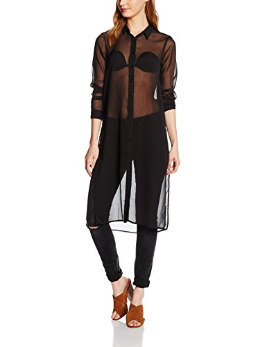 Vero Moda Vmtenna L/S Long Shirt Lcs, Blusa para Mujer negro