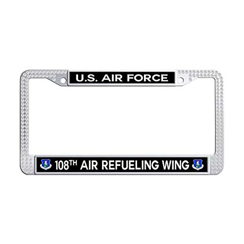 - US Air Force 108th Air Refueling Wing License Plate Frame,White Rhinestones Car Plate Frame