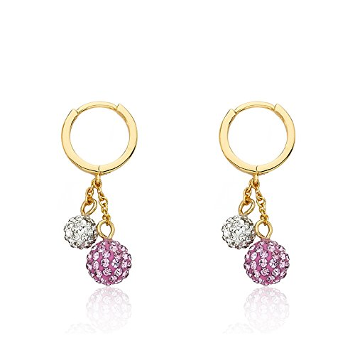 Molly Glitz Girls' Glitz Blitz 14k Gold-Plated Drop Earrings with Pink and White Crystal Balls