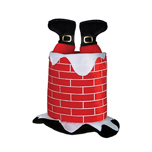 [Beistle 1-Pack Plush Santa Chimney Hat] (Crazy Christmas Hats)