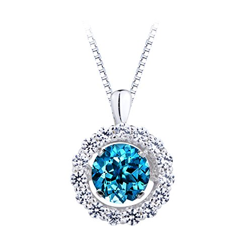 SERAFINA ❤ Women's Blue Topaz and White Sapphire Pendant Necklace | 925 Sterling Silver on an 18
