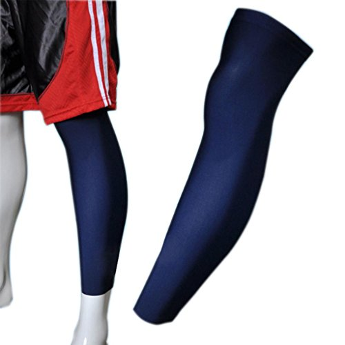 COOLOMG 1PCS Sport Football Basketball Cycling Stretch Leg Knee Long Sleeve, Navy/Blue, Large