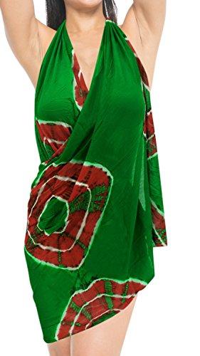 pareo mano regalos envoltura hecha auténtica del tinte del lazo del traje de baño, pareo de baño traje de baño traje hawaiano verde rojo