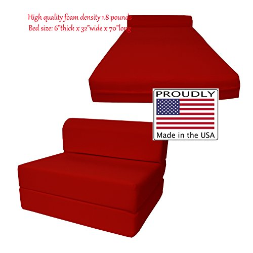 6'' Thick X 36'' Wide X 70'' Long Twin Size Red Sleeper Chair Folding Foam Bed 1.8lbs Density, Studio Guest Foldable Chair Beds, Foam Sofa, Couch. by D&D Futon Furniture
