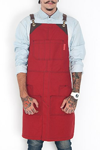 - Under NY Sky Cargo Ruby Red Apron - Cross-Back with Heavy-Duty Canvas, Leather Reinforcement and Split-Leg - Adjustable for Men and Women - Pro Woodworker, Mechanic, Welder, Tattoo Artist Aprons