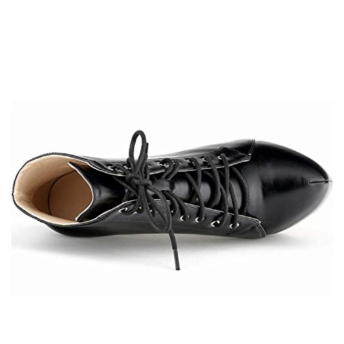 Impermeabile L Toe Da yc Scarpe Casual Stivali Autunno Alto Heel Inverno Black Donna Pu Tacco Comodo rqzrEOT