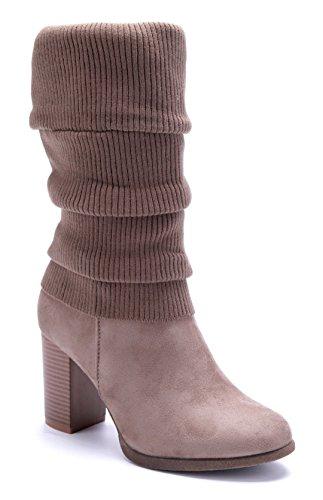 Schuhtempel24 Damen Schuhe Klassische Stiefeletten Stiefel Boots Blockabsatz 9 cm Khaki