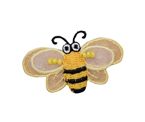 Bumble Bee Embroidered (Small - Yellow Bumble Bee - Layered 3-D Wings - Beaded - Iron on Applique/Embroidered Patch)