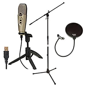 CAD Audio U37 USB Studio Recording Microphone with CAD Audio Microphone Pop Filter and On Stage Tripod Boom Microphone Stand