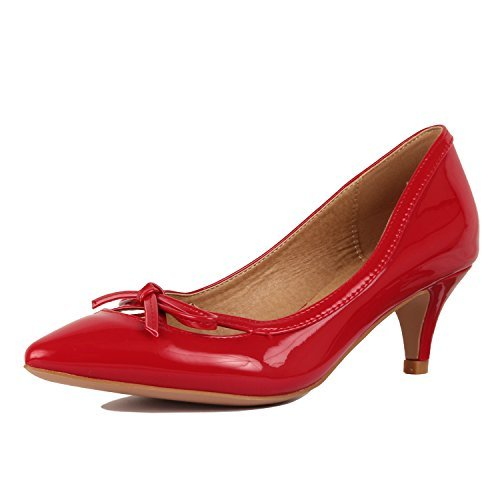 Red Classic Pump (Guilty Shoes Womens Deco Embellished Classic Elegant Closed Pointy Toe Low Kitten Heel Dress Pump Shoes Heeled-Sandals, 17-Red-Patent, 8.5)