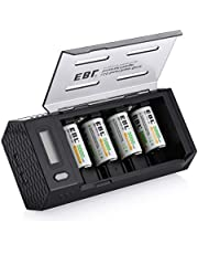 EBL Upgraded AA AAA C D 9V Battery Charger Dual USB Ports with 4-Pack C Size 5000mAh Rechargeable Batteries