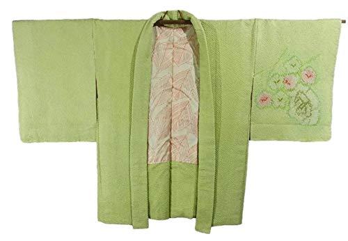 穿孔するクリープミルクリサイクル 羽織 絞り 扇に梅の花模様 裄64cm 身丈77cm 正絹