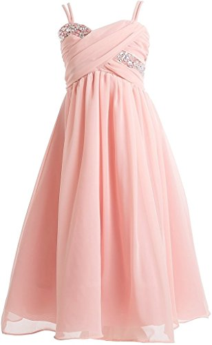Big Girls' Wrapped Crystal Ruched Chiffon Gown Flowers Girls Dresses Blush 16 (J35K56)