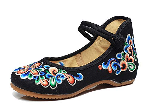 Embroidered Mary Jane - AvaCostume Women's Chinese Embroidery Casual Mary Jane Travel Walking Shoes Black 41