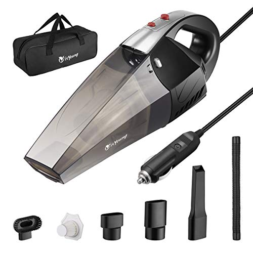 isYoung Car Vacuum Cleaner with LED Light, 4500PA Stronger Suction Portable Auto Vacuum Cleaner, DC12-Volt Wet/Dry Handheld Vacuum Cleaner with Carrying Bag, One Extra HEPA Filter - Black Silver