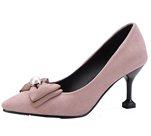 VogueZone009 Women's Pointed Closed Toe Pull-On Solid High-Heels Pumps-Shoes Pink 8Ar94