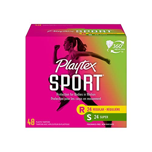 Playtex Sport Tampons, Multipack, Regular and Super Absorbency, Unscented, 48 Count, White