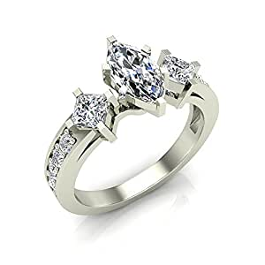 1.40 ct tw Princess Cut & Marquise center Diamond Engagement Ring 14K White Gold (Ring Size 5.5)