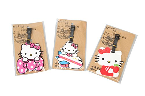 Kitty Hello Adult (Set of 3 - Super Cute Kawaii Cartoon Silicone Travel Luggage ID Tag for Bags Suitcases (Assorted) (Hello)