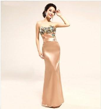 Robe de soiree longue couleur champagne