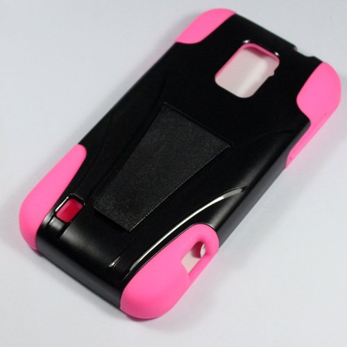 Saapni ZTE Rapido LTE Z932L (Straight Talk) – HYBRID PC/SC Combo Case w/ Kickstand – Hot Pink HYB