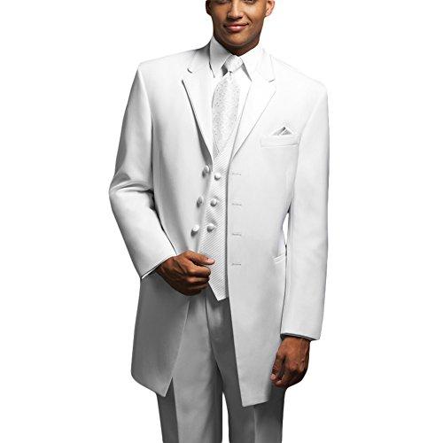 CMDC Men's Winter Bridegroom Wedding Tuxedo Three-piece Suit D235£¨White,44 Short£©