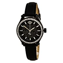 Bulova 78L119 Timepieces Women's Quartz Analog Watch with Black Dial with White Markers and Black Leather Strap