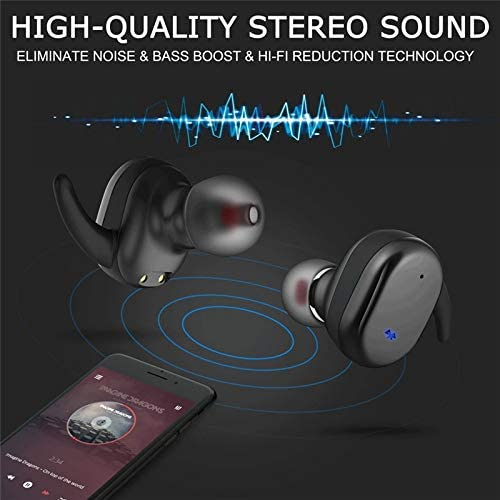 Wireless Headphones Earbuds, BD&M Earphone Noise Cancelling Sport Headset Stereo Sound Music in-Ear Touch Control with Charging Case for iPhone and Android - Black