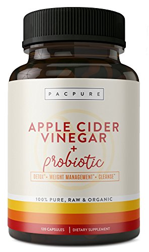 1500mg Organic Apple Cider Vinegar Capsules with Probiotic, Raw 100% Pure Cider Pills for Weight Loss, Digestion, Cleansing and Detox Support, 120 Vegetarian Capsules