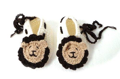 BB.114 - Chaussons Chaussures Bébé Enfant 0-3 Mois Pointure 16 - Lion Beige Marron - Crochet Fait Main