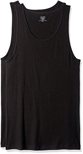 Calvin Klein Men's Undershirts Cotton Multipack Tank Tops, Black, X-Large