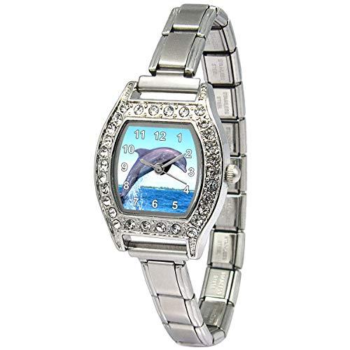 Timest - Dolphin - Womens Stainless Steel Italian Charms Bracelet Watch BJ1178 (Charm Italian Bracelet Dolphin)