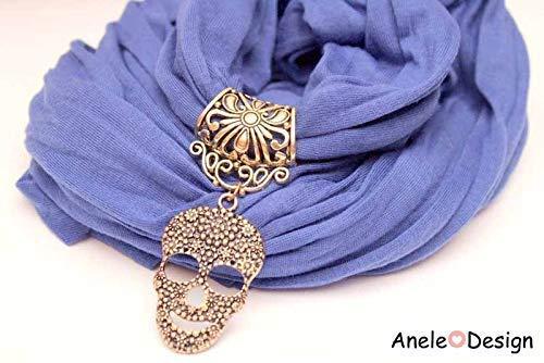 Écharpe foulard bijou bleu - Tête de mort